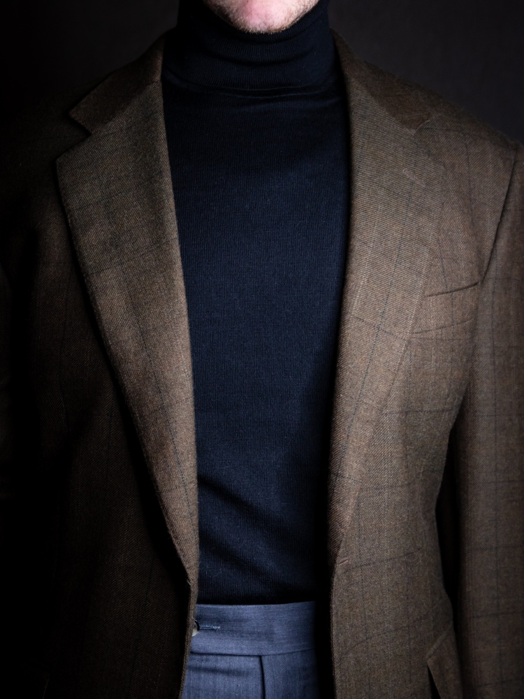 Mens Black Turtleneck Outfit Windowpane Jacket Style