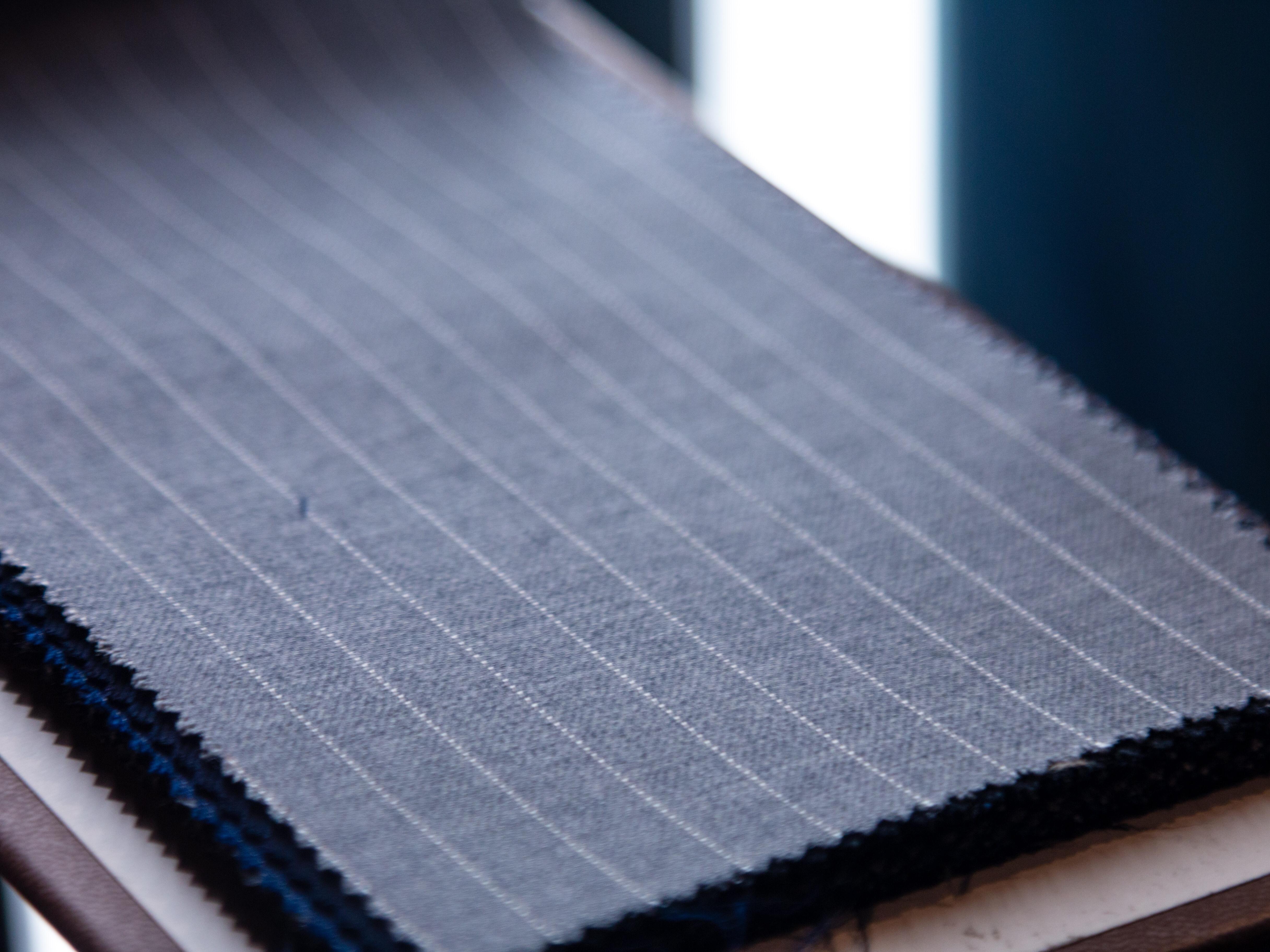Carnet Grey Pinstripe Suit Fabric