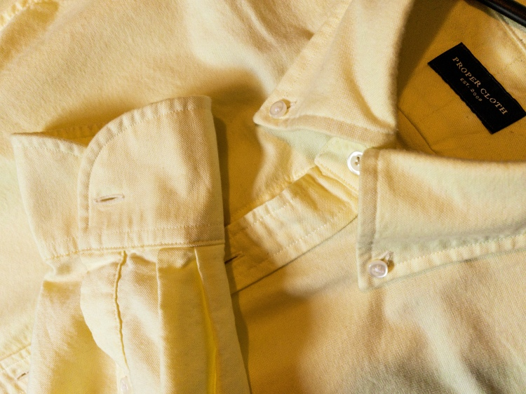 Proper Cloth made to measure pale yellow OCBD oxford button down shirt