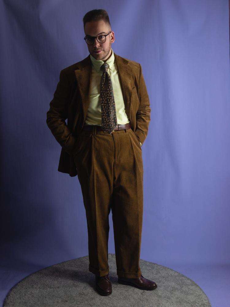 Vintage style belt back corduroy MTM suit